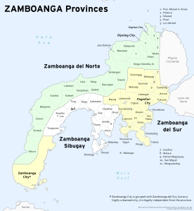 Map for the Zamboanga provinces, Philippines